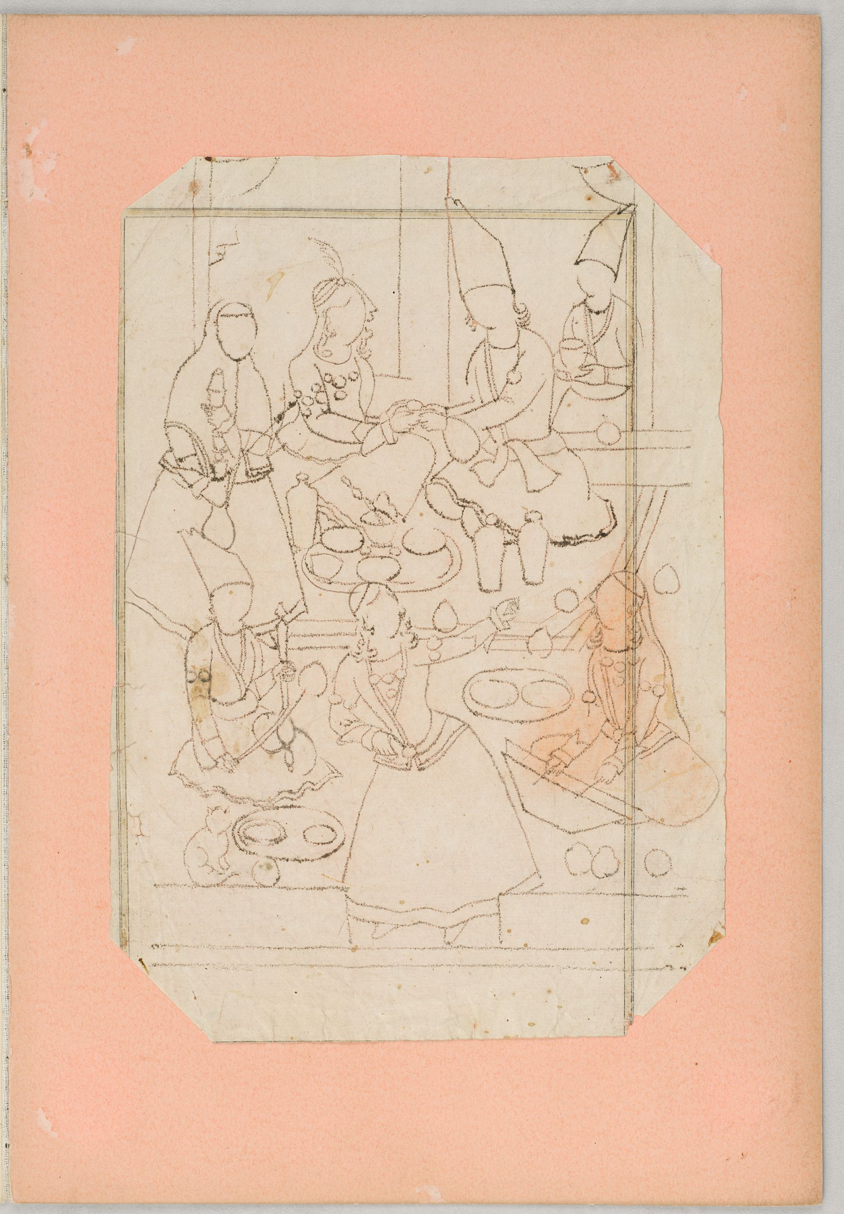 Folio 10 From An Album Of Artists' Drawings From Qajar Iran: Hero On Horseback Fighting A Dragon (Recto); Couple Entertained On A Terrace By Musicians And Dancers (Verso)