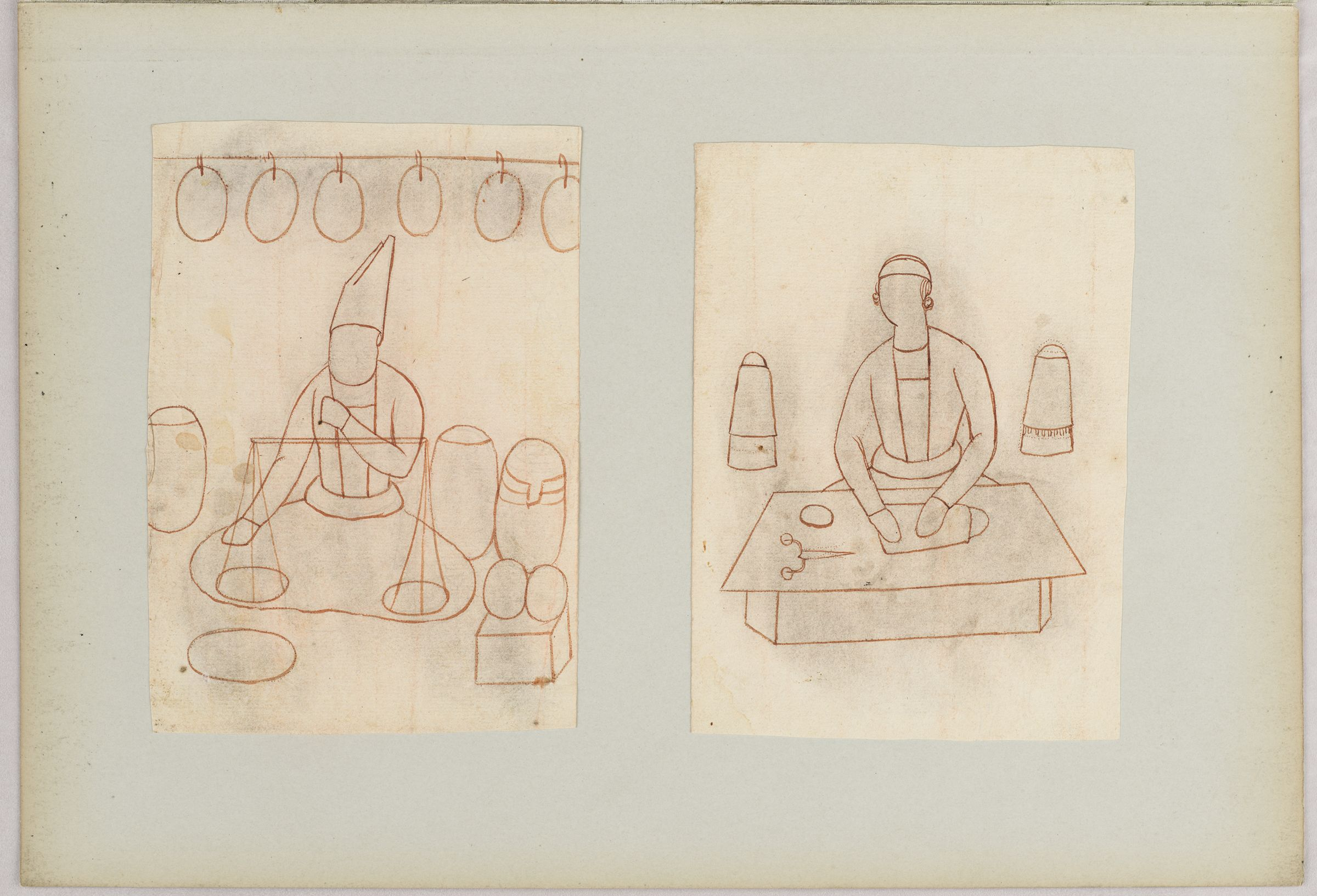 Folio 14 From An Album Of Drawings And Paintings: Two Drawings Of Workmen: Vendor And Hat Maker (Recto); Blank Page (Verso)