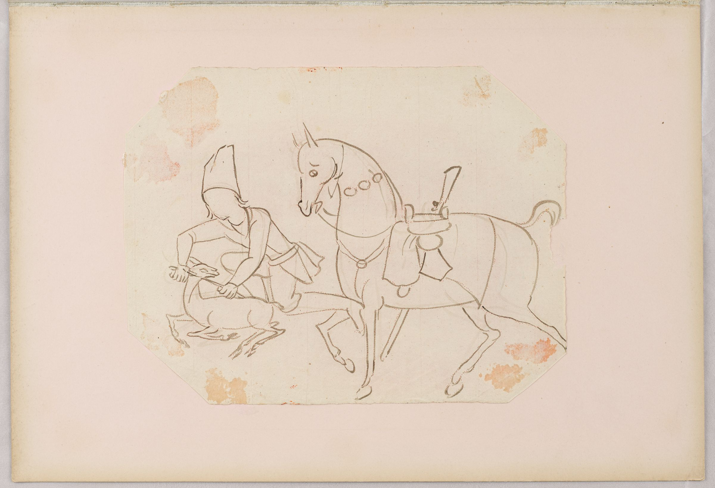Folio 12 From An Album Of Drawings And Paintings: Hunter Dismounted From Horse, Killing A Deer (Recto); Blank Page (Verso)
