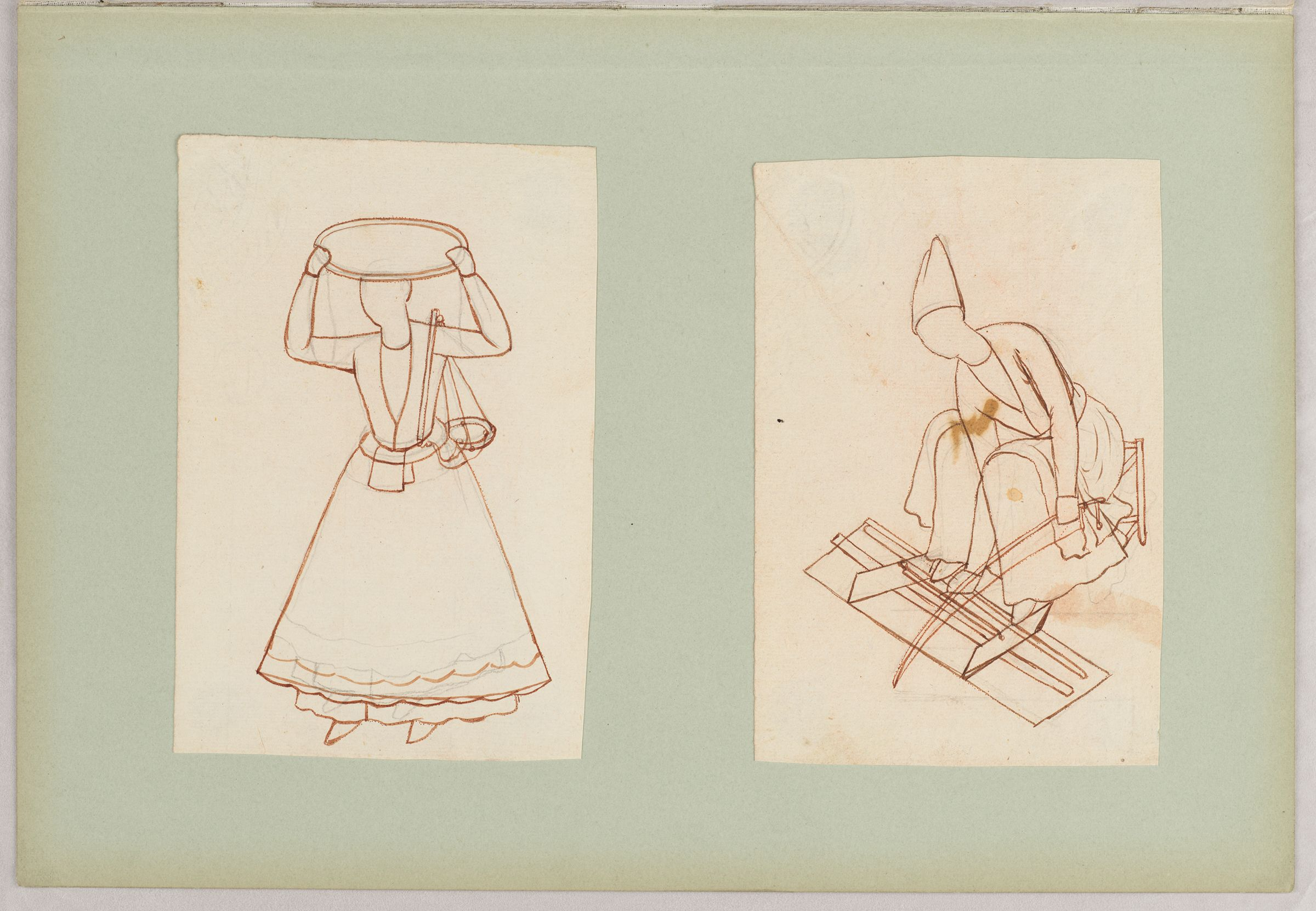 Folio 16 From An Album Of Drawings And Paintings: Two Drawings Of Workmen: Snack Vendor And Lathe-Turner (Recto); Blank Page (Verso)