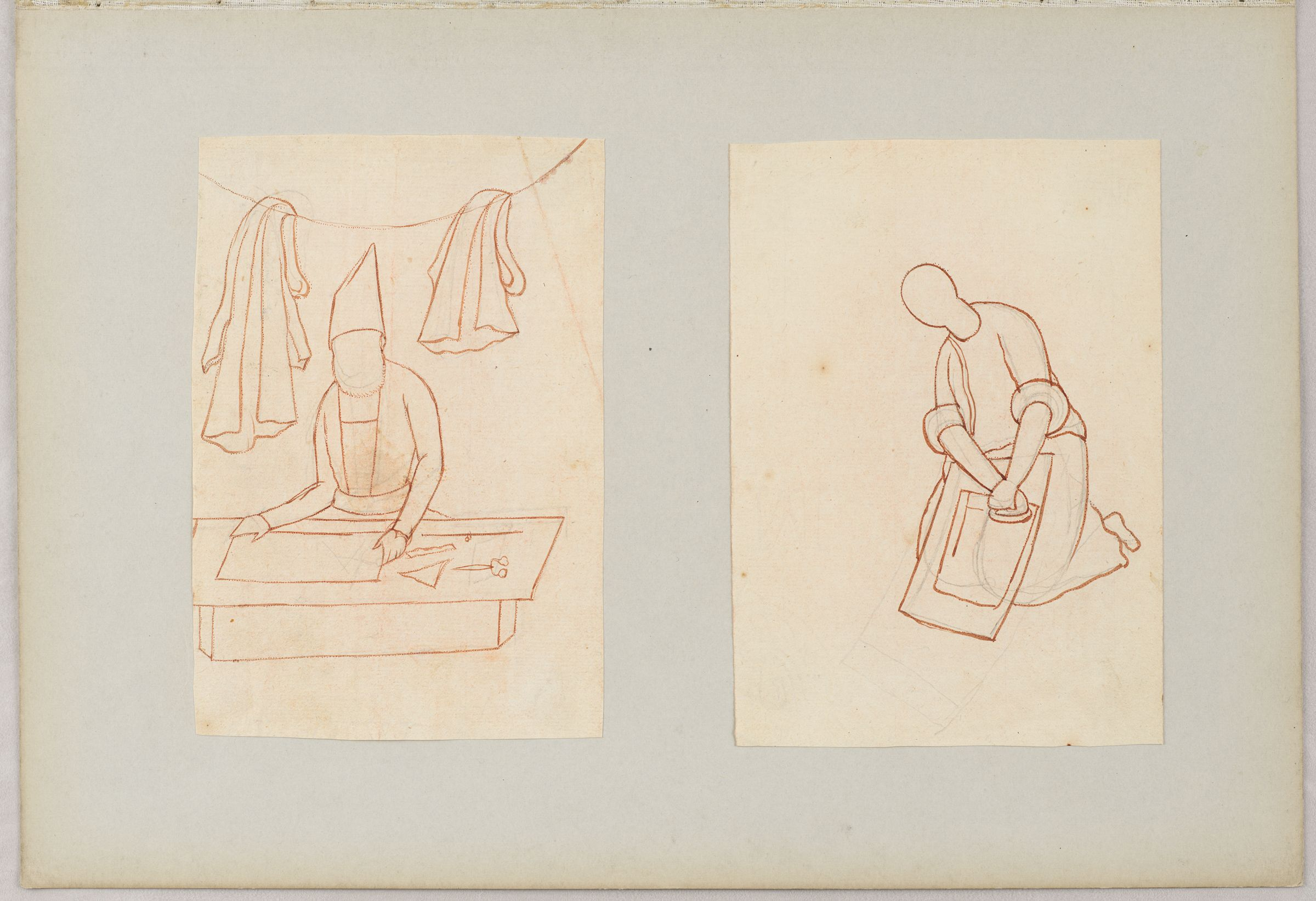Folio 15 From An Album Of Drawings And Paintings: Two Drawings Of Workmen: Tailor And Man With Washboard (Recto); Blank Page (Verso)