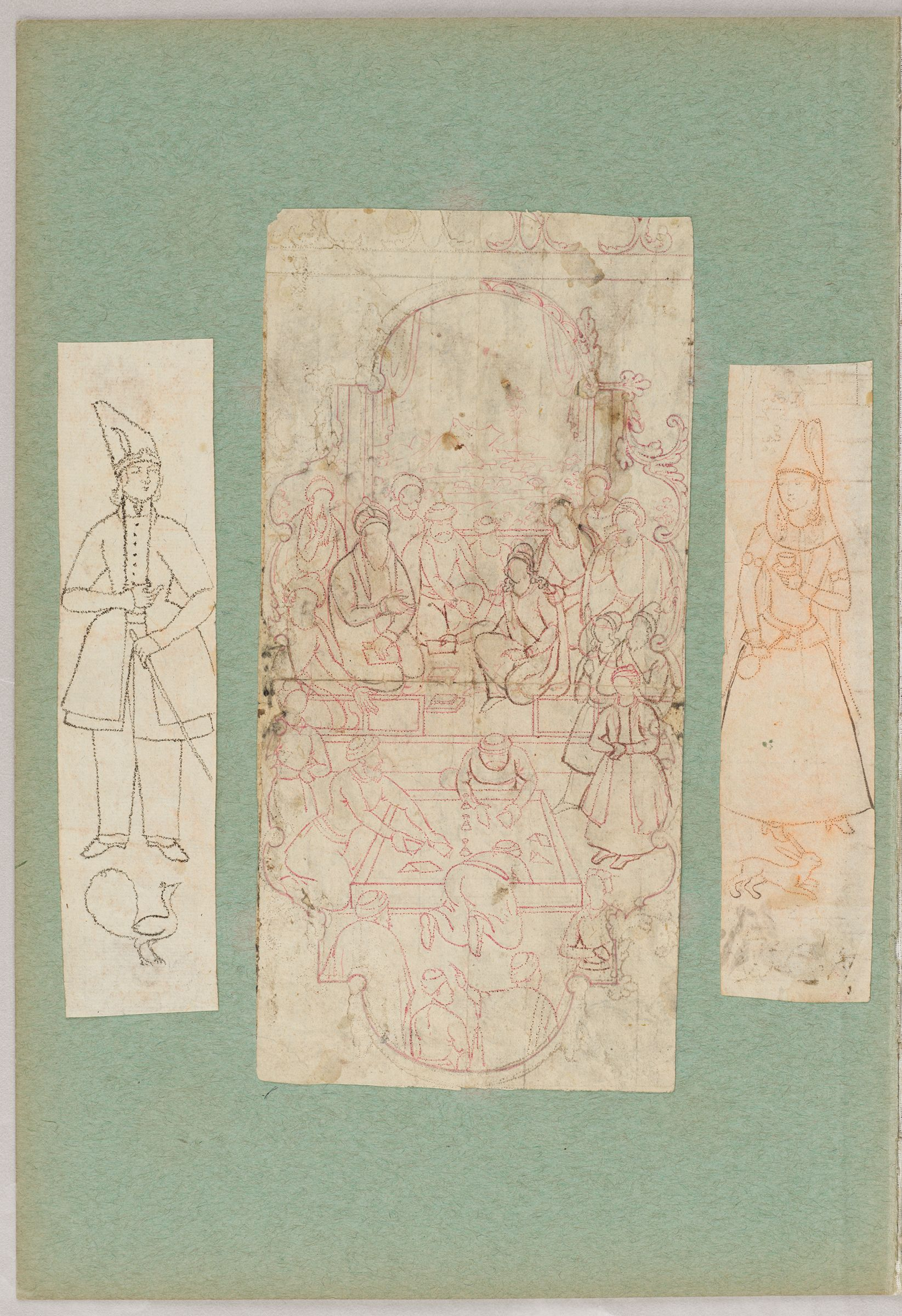 Folio 17 From An Album Of Drawings And Paintings: Three Drawings: Man And Peacock; Gathering Of Men On A Terrace; Woman And Rabbit (Recto) Two Drawings: Shirin On Horseback Visits Farhad At Mt. Bisutun; Bahram Gur Succeeds At Azada's Shooting Challenges (Verso)