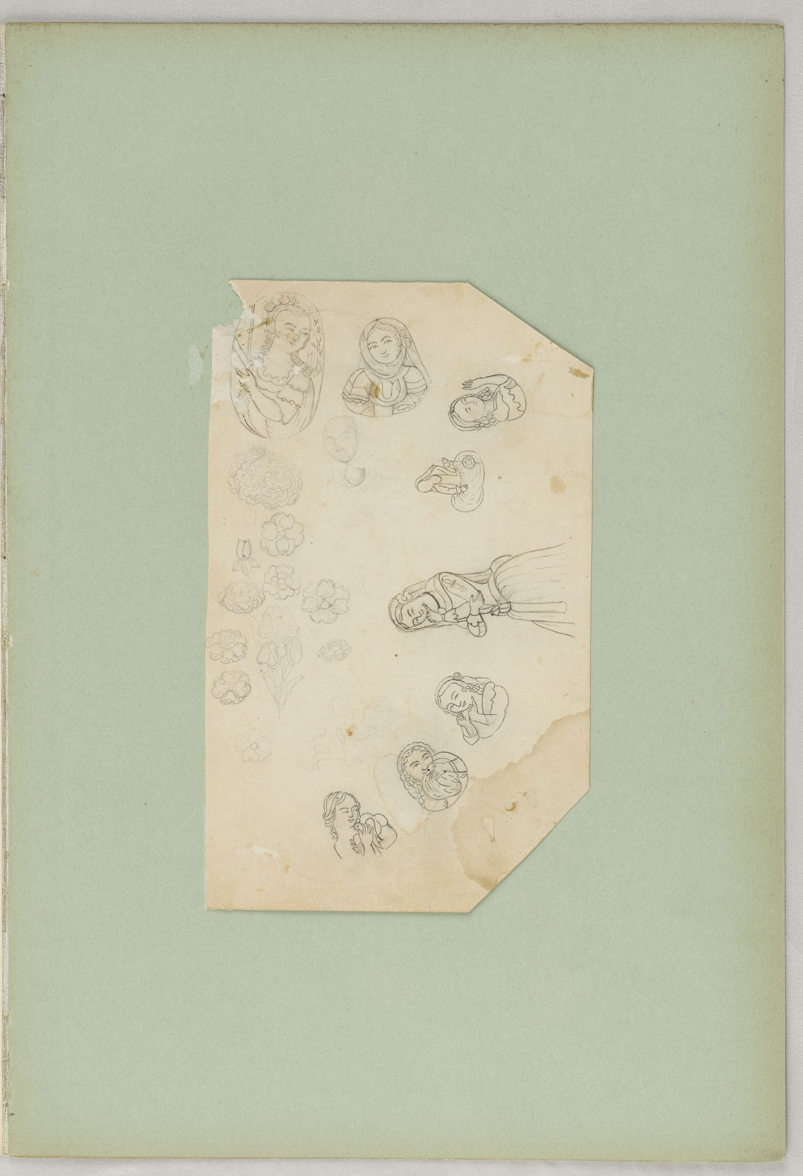 Folio 21 From An Album Of Artists' Drawings From Qajar Iran: Three Drawings Of Figures In European Dress (Recto); Study Sheet With Flowers And Female Portraits And Figures (Verso)