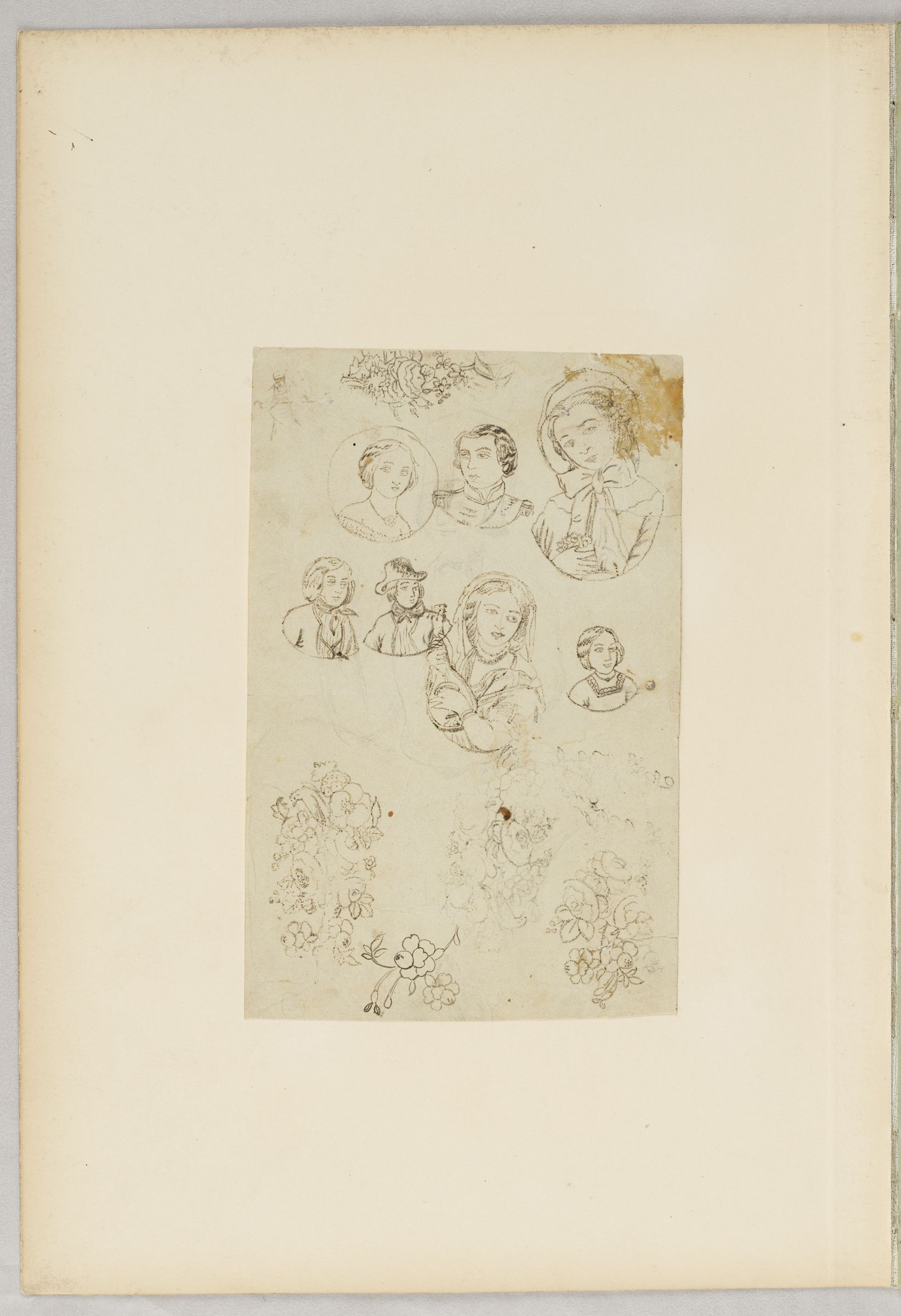 Folio 22 From An Album Of Drawings And Paintings: Sheet Of Portrait Sketches And Flowers (Recto); Two Sheets: Dog And Decorative Frames; Kneeling Couple And Mixed Bouquet (Verso)