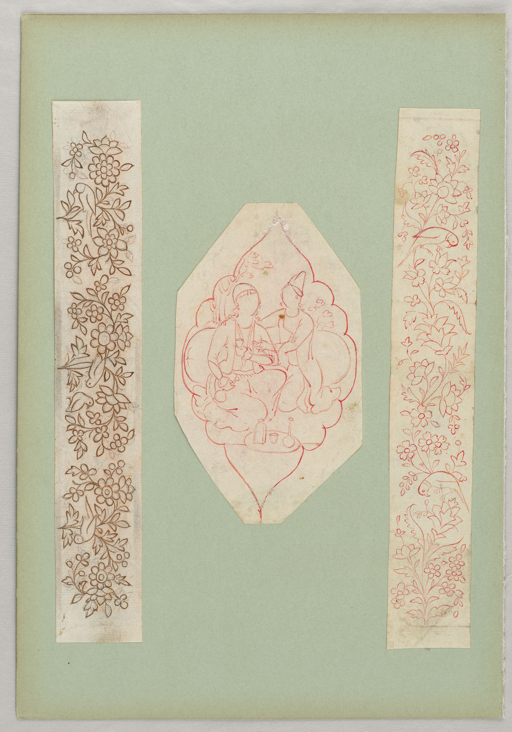 Folio 23 From An Album Of Drawings And Paintings: Three Sheets: Bird And Flower Designs For A Penbox; Polylobed Cartouche Enclosing Couple (Recto); Blank Page (Verso)