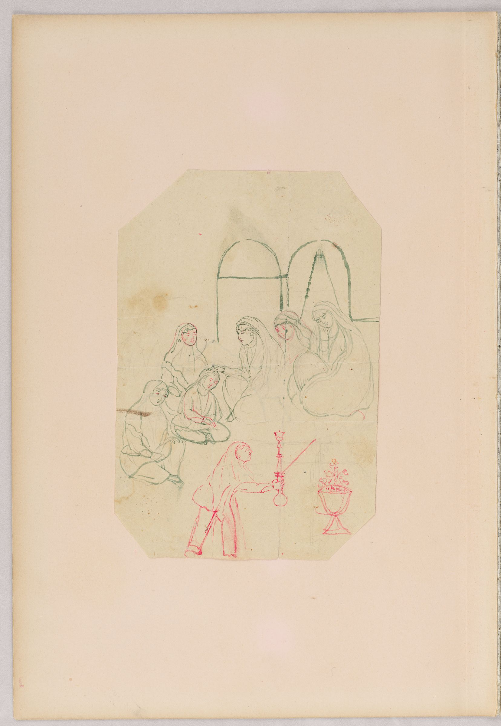 Folio 28 From An Album Of Drawings And Paintings: Domestic Scene With Women And Child (Recto); Three Sheets: Female Musician Playing Bowed Instrument; Embracing Couple; Man Hawking On Horseback (Verso)
