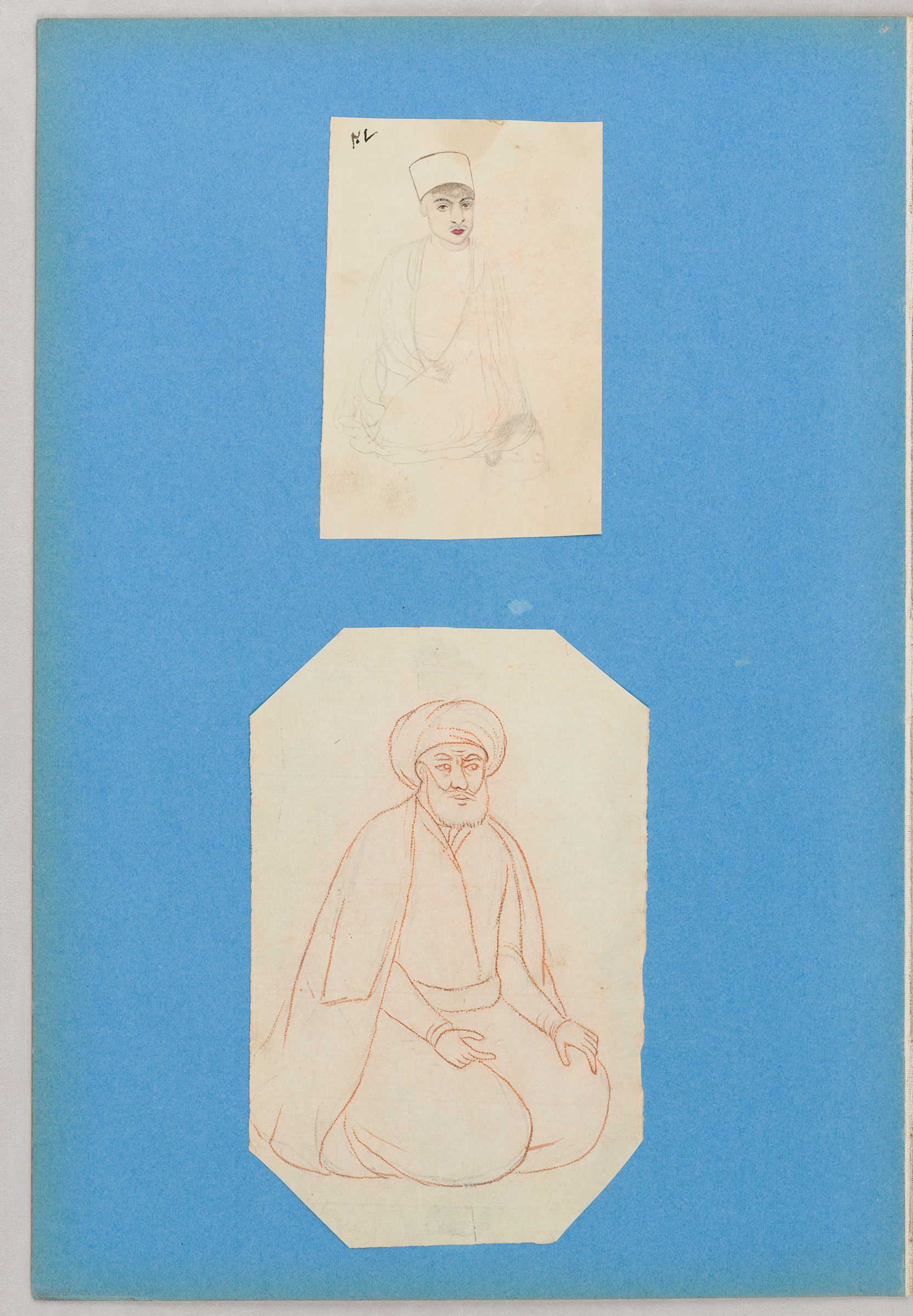 Folio 25 From An Album Of Drawings And Paintings: Two Sheets: Seated Boy; Seated Cleric (Recto); Blank Page (Verso)