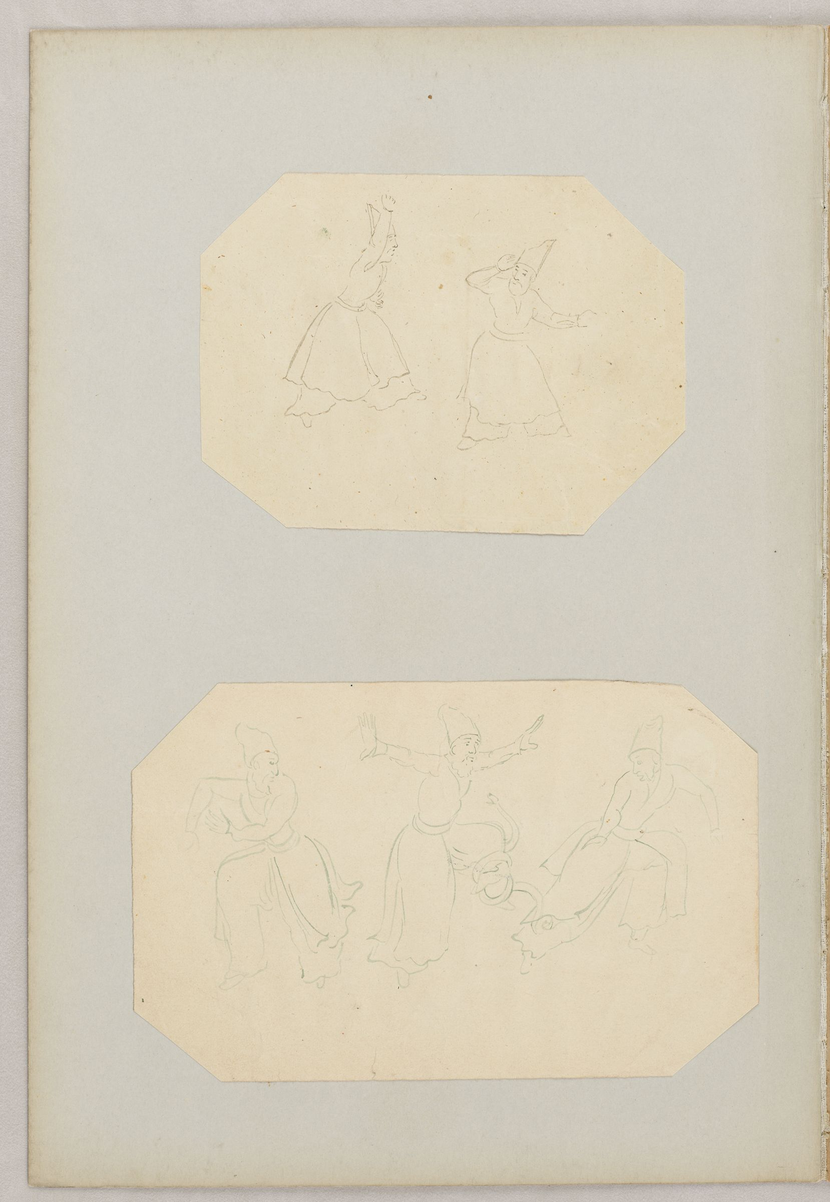 Folio 26 From An Album Of Drawings And Paintings: Two Sheets: Pair Of Dervishes; Three Dervishes With Snake  (Recto); Blank Page (Verso)