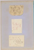 Folio 34 From An Album Of Drawings And Paintings: Three Sheets With Sketches Of People And Animals (Recto); Lion Attacking A Cow, Framed By Colored Paper Borders (Verso)