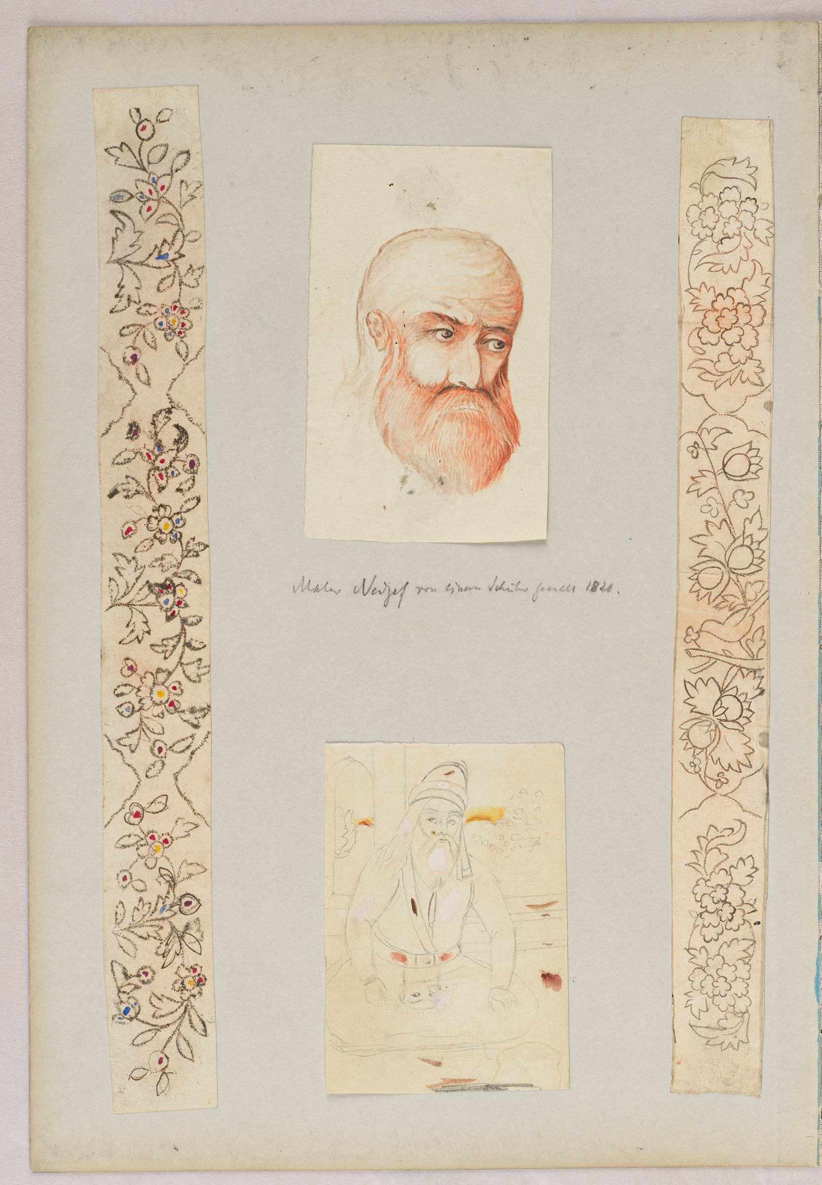 Folio 36 From An Album Of Drawings And Paintings: Four Drawings; Two Designs For Penboxes; Head Of A Bearded Man; Seated Dervish (Recto); Blank Page (Verso)