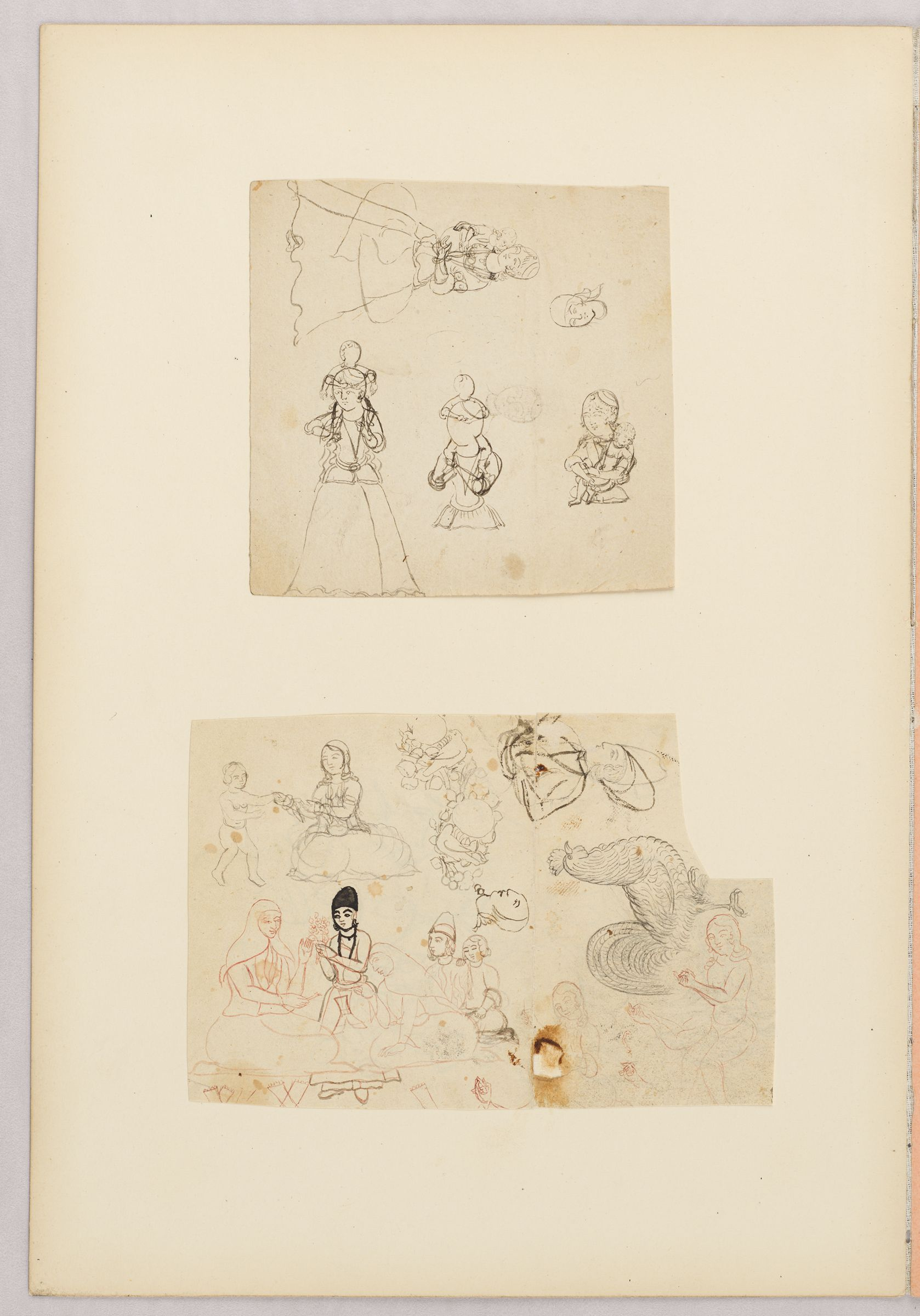 Folio 37 From An Album Of Drawings And Paintings: Two Sheets With Sketches Of People, Animals, And Bird And Flower Motifs (Recto); Blank Page (Verso)