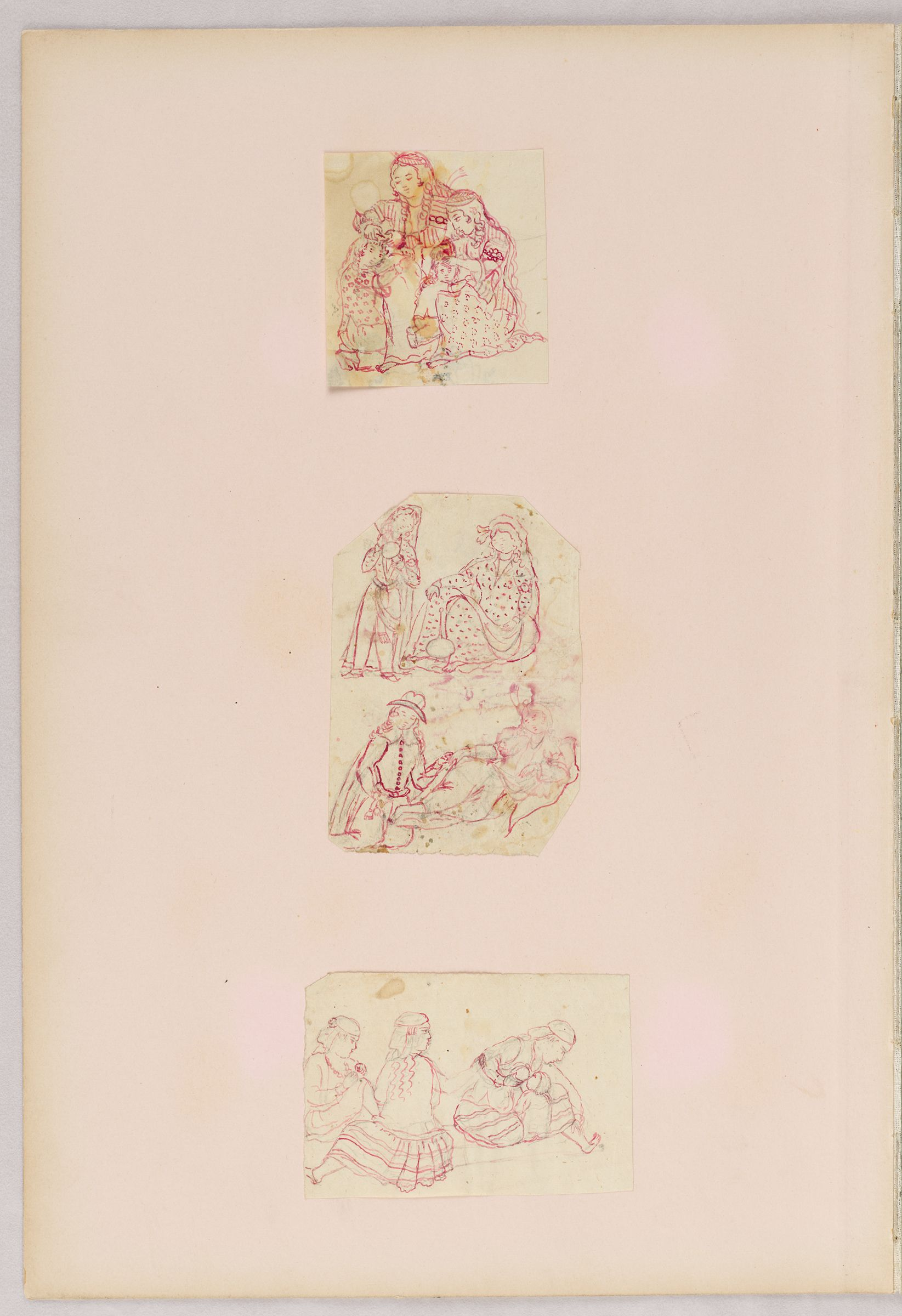 Folio 39 From An Album Of Drawings And Paintings: Three Sheets: Women Delousing Children; Women With European Man; Women With Nursing Child (Recto); Fingernail Drawing: Child In Classical Garb (Verso)