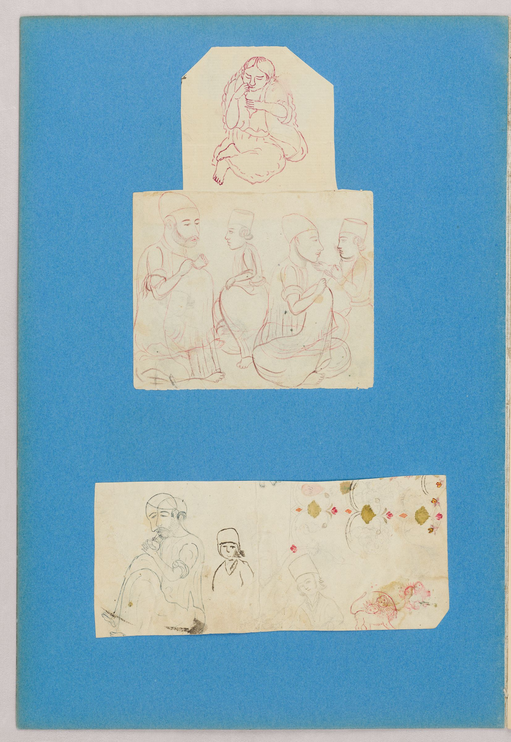 Folio 38 From An Album Of Drawings And Paintings: Three Sheets With Sketches Of People, And Sun And Lion Motifs (Recto); Blank Page (Verso)