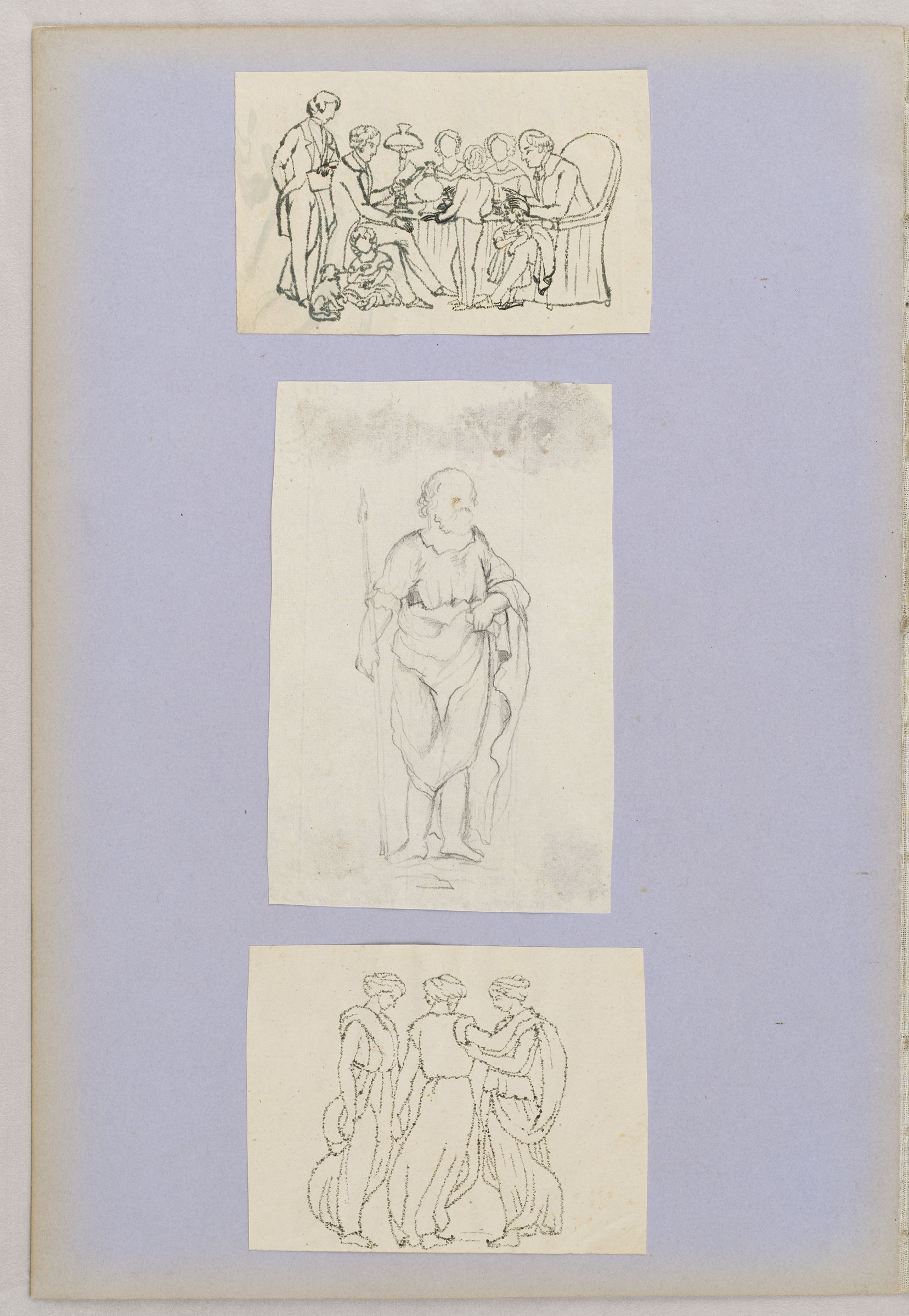 Folio 44 From An Album Of Drawings And Paintings: Three Sheets: European Family Gathered Around A Table; Bearded Man In Semi-Classical Garb; Three Graces (Recto); Blank Page (Verso)