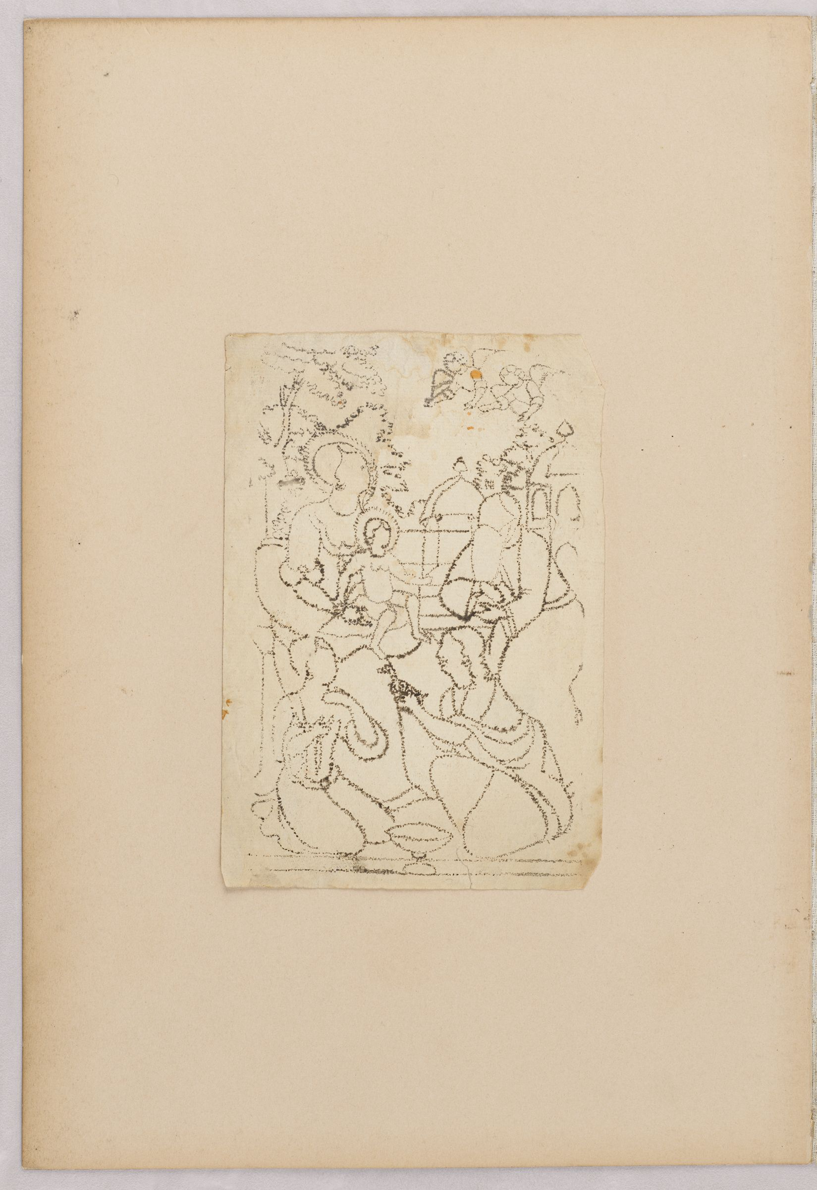 Folio 42 From An Album Of Artists' Drawings From Qajar Iran: Virgin And Child With Attendants (Recto); Three Sheets Framed By Colored Paper Borders: Bust-Length Portrait Of Men And Women (Verso)