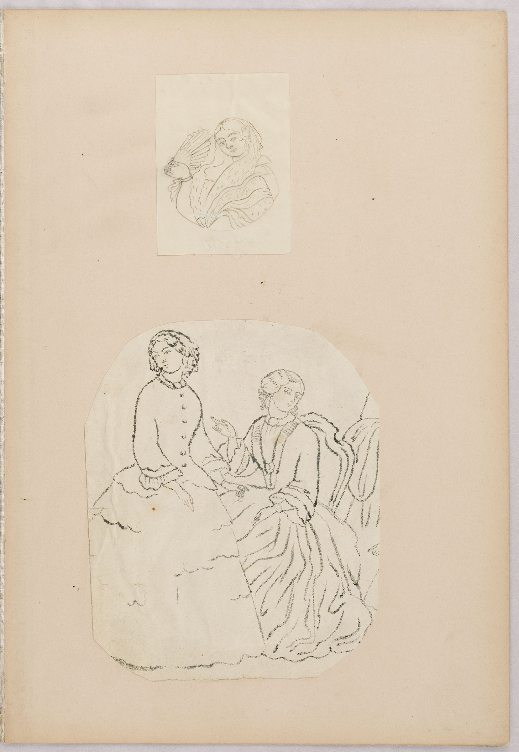 Folio 43 From An Album Of Drawings And Paintings: Two Sheets: Feline; Quails (Recto); Two Drawings: Woman With Fan; Two Women In European Dress  (Verso)