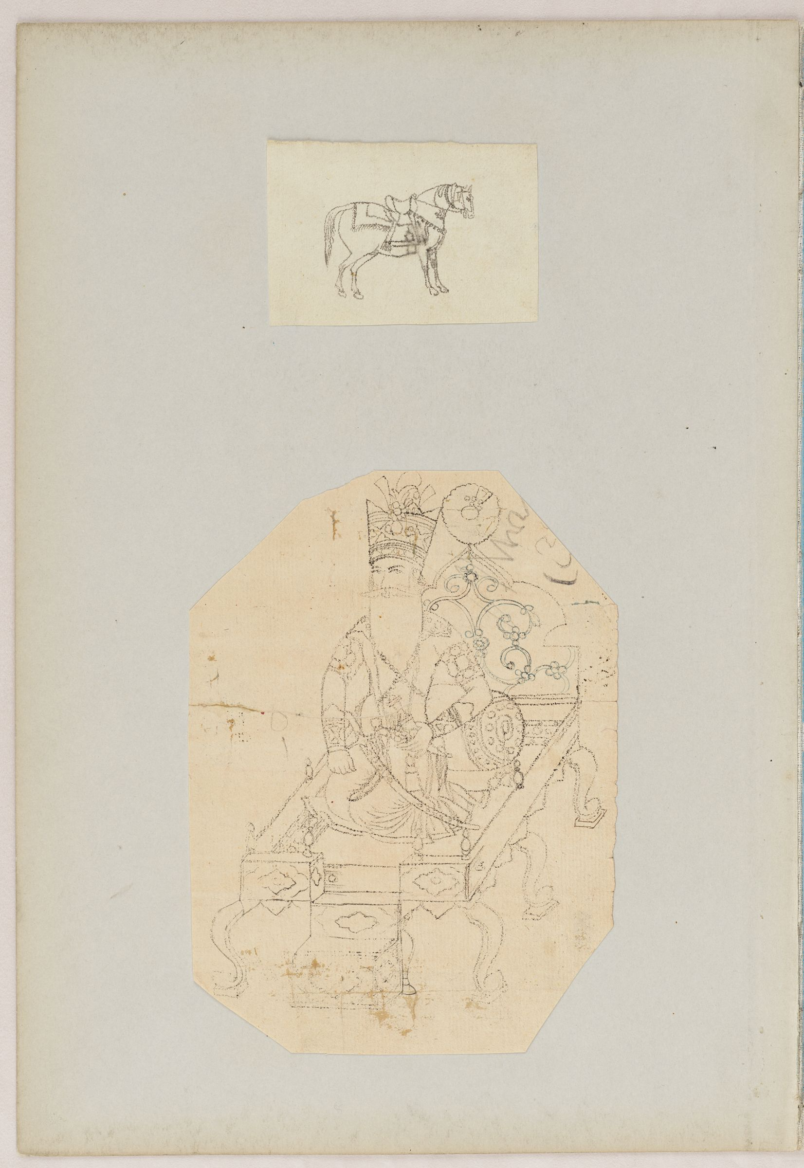 Folio 46 From An Album Of Drawings And Paintings:two Sheets: Horse; Fath Ali Shah Qajar Enthroned (Recto); Blank Page (Verso)