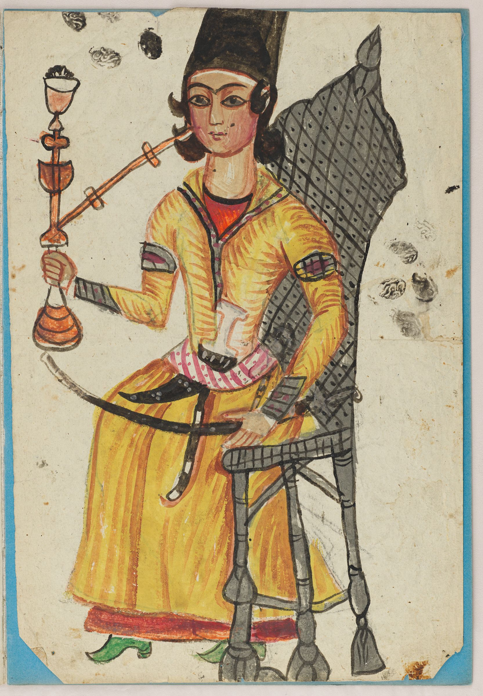 Folio 47 From An Album Of Drawings And Paintings: Man Splitting Wood (Recto); Qajar Youth Seated In A Chair With Waterpipe And Sword (Verso)