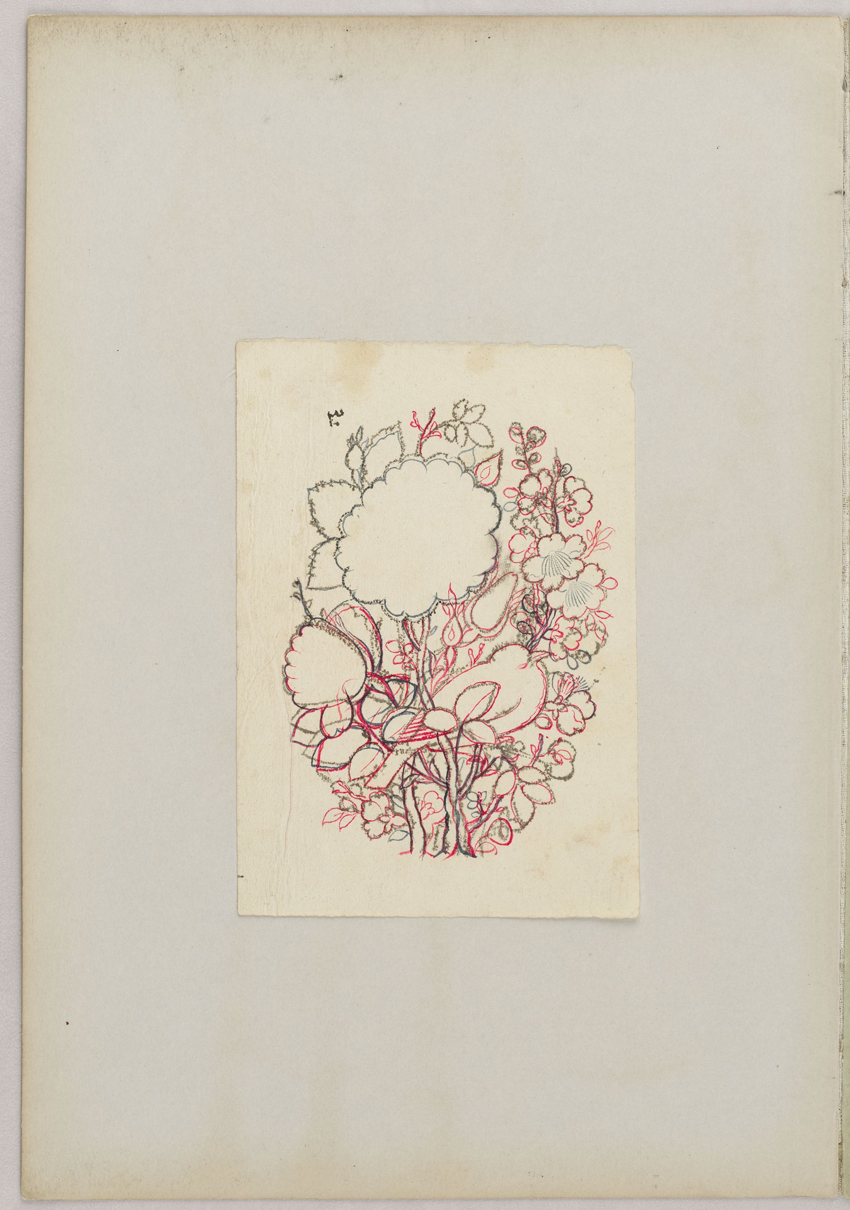 Folio 48 From An Album Of Drawings And Paintings: Bird And Flower Design (Recto); Blank Page (Verso)