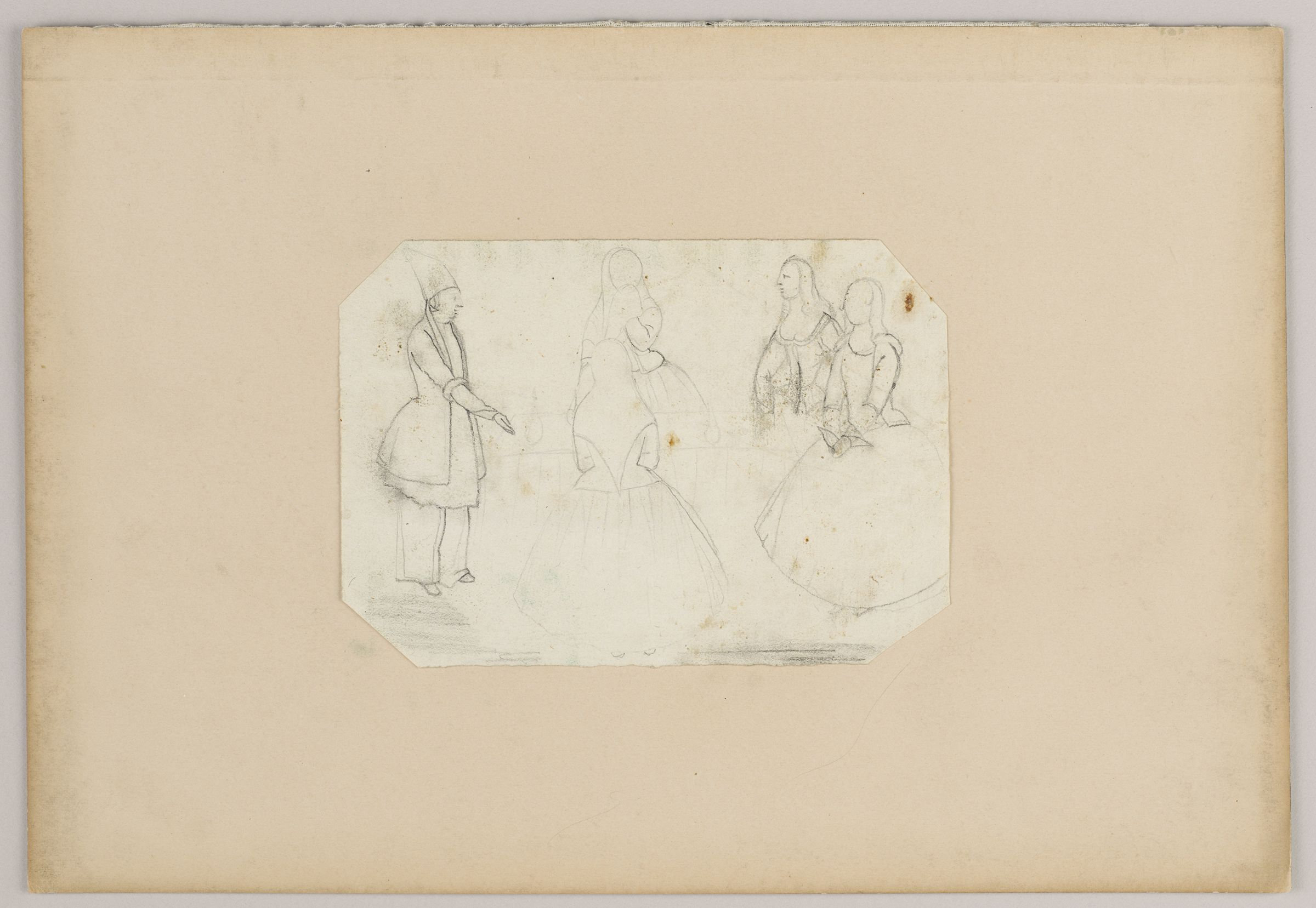 Folio 50 From An Album Of Drawings And Paintings: Sketch Of Qajar Man And Four Women (Recto); Drawing Set Within A Colored Paper Border: Two Women And A Small Child (Verso)