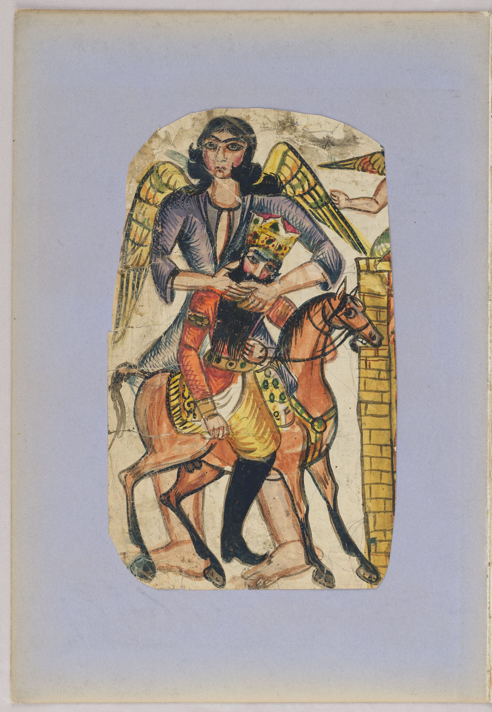 Folio 52 From An Album Of Drawings And Paintings: King On Horseback Embraced By Angel (Recto); Bust Portrait Of A Young Woman, Probably Pourandokht, With Tiara And Headscarves (Verso)