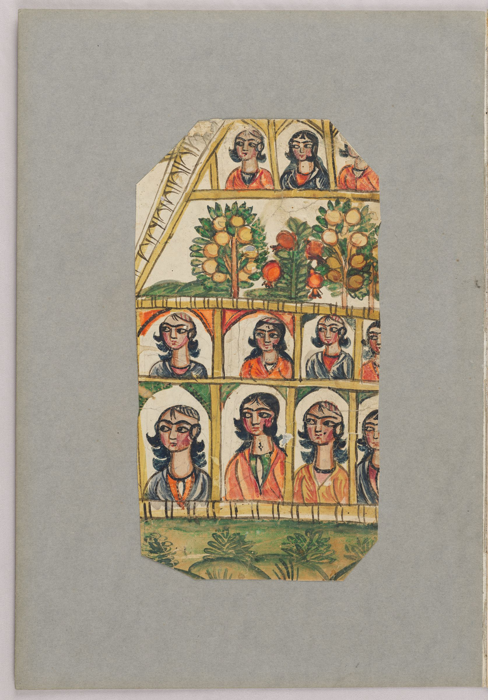 Folio 53 From An Album Of Drawings And Paintings: Figures In Porticoes Surrounding Fruit Trees (Recto); Five Drawings Of Flowers Framed By A Colored Paper Border (Verso)