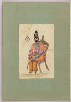 Folio 57 From An Album Of Drawings And Paintings: Muhammad Shah Qajar, Seated On A Chair (Recto); Crown Imperial (Fritillaria Imperialis) (Verso)