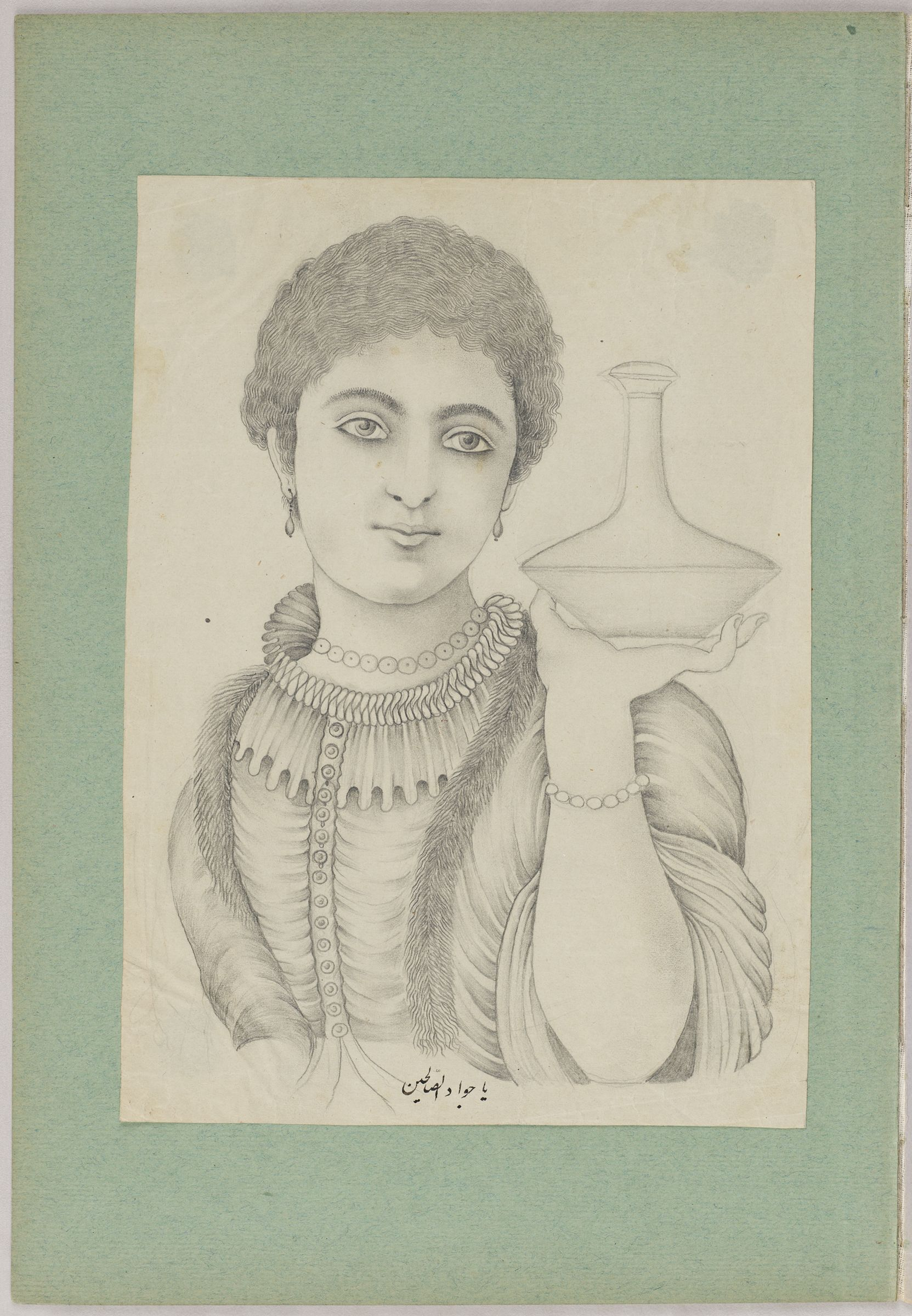 Folio 33 From An Album Of Drawings And Paintings: Portrait Of A Woman (Recto); Two Drawings Of Felines Framed By Colored Paper Borders (Verso)