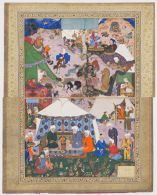 Nomadic Encampment, probably a folio from a manuscript of Layla va Majnun by Jami