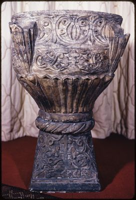 "<bdi class=""metadata-value"">Main Title: Alabaster font with carved vegetal motifs and crosses</bdi><br><bdi class=""metadata-value"">Image Title: General view 16696933</bdi>"