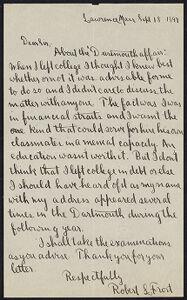 [Letter from Robert Frost] Digital Object