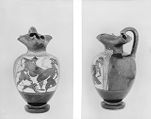 Oinochoe (wine pitcher): Two Warriors in Combat; Hermes and Giant (?)