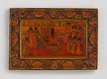 Large Box with Fath ʿAli Shah Seated on the Sun Throne (Takht-i khurshīd)