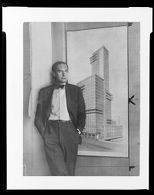 Walter Gropius with Chicago Tribune Competition drawing