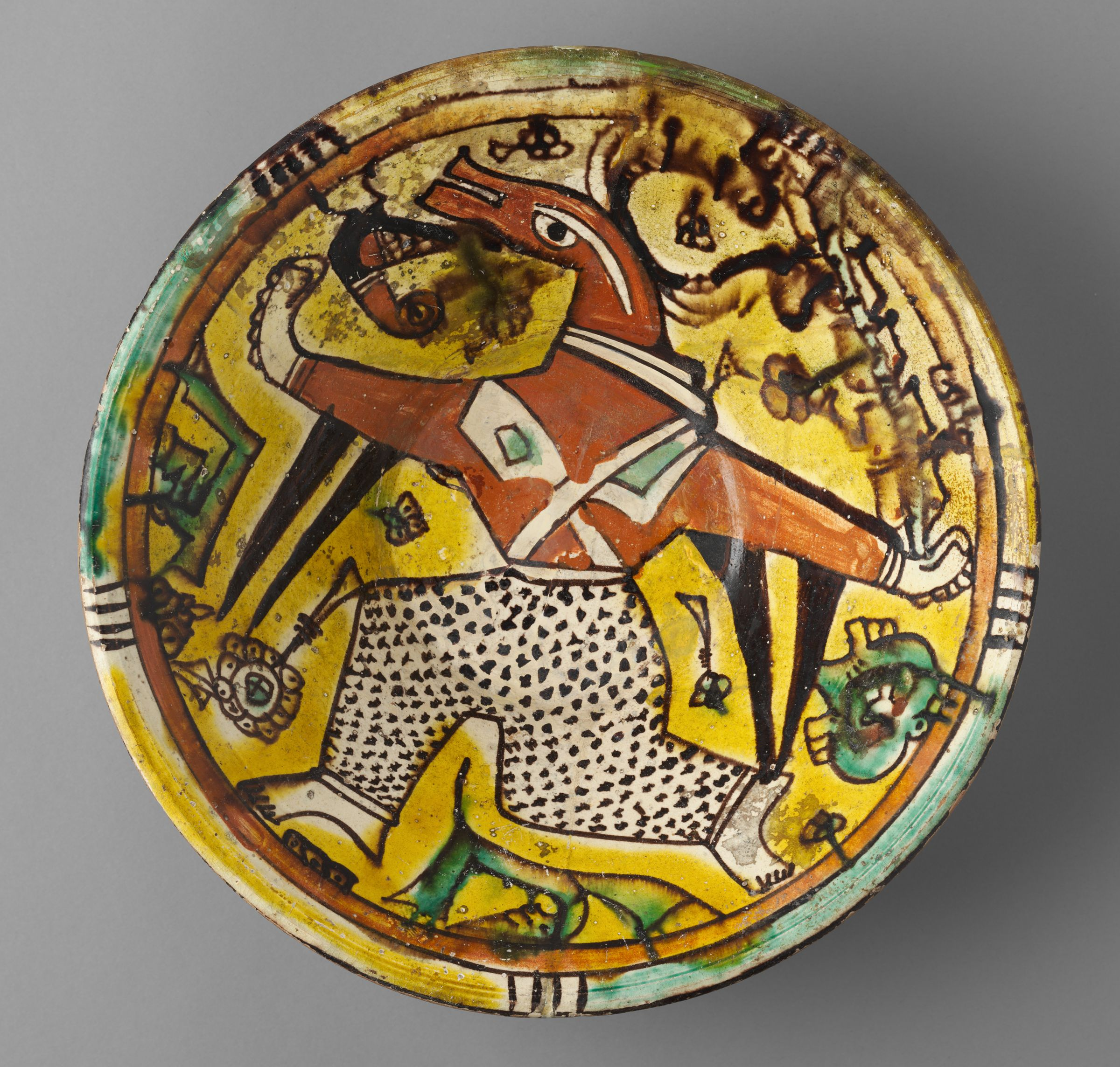 Bowl With Masked Dancing Figure