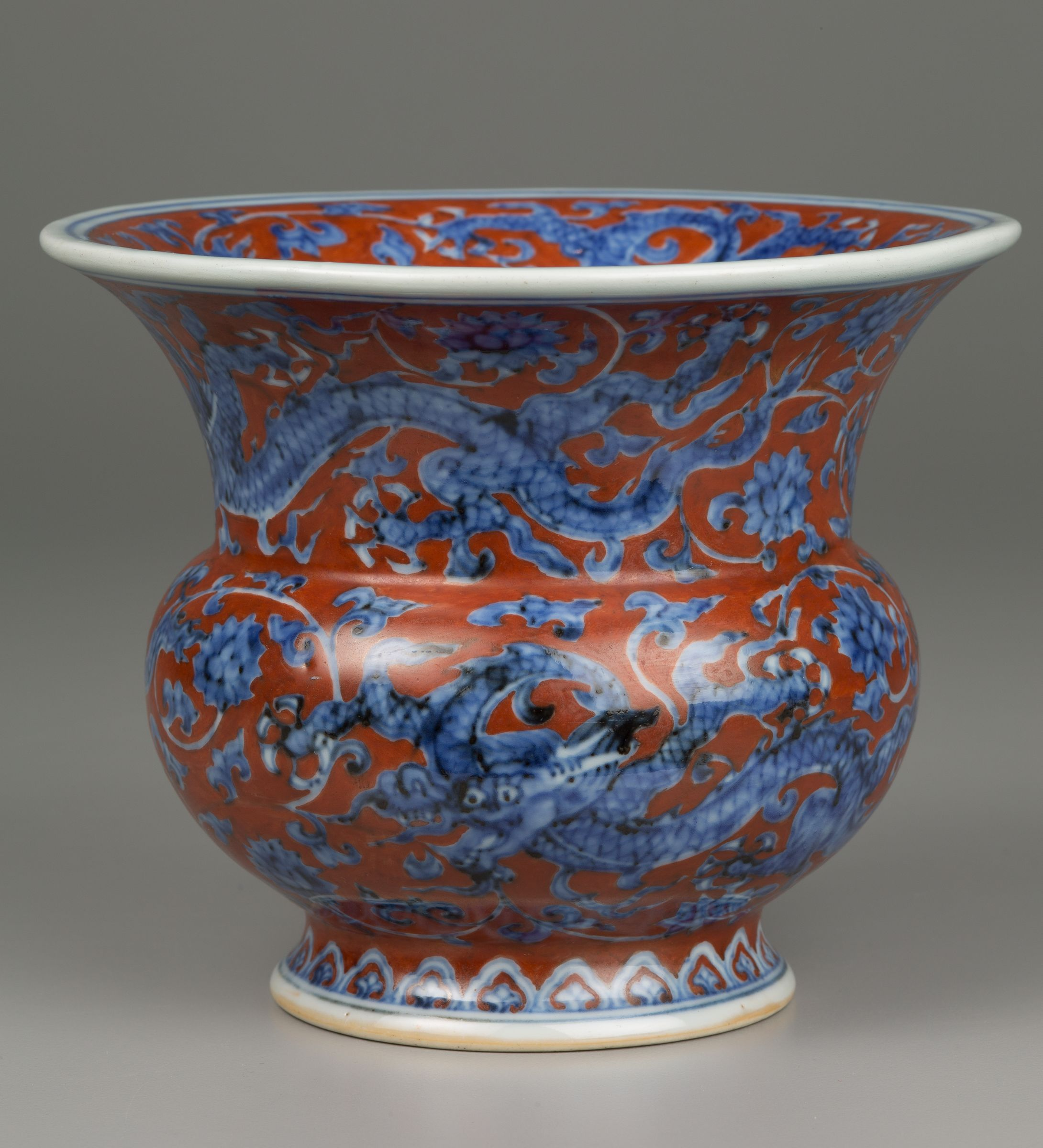 Zhadou-Shaped Vase With Dragons And Scrolling Flower Decor