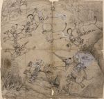 Buffalo Hunt: preparatory drawing for wall painting in the Chhattar Mahal