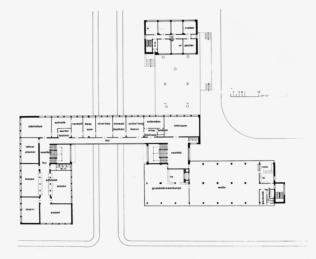 from the harvard art museums collections bauhaus building dessau 1925 1926 first floor plan. Black Bedroom Furniture Sets. Home Design Ideas
