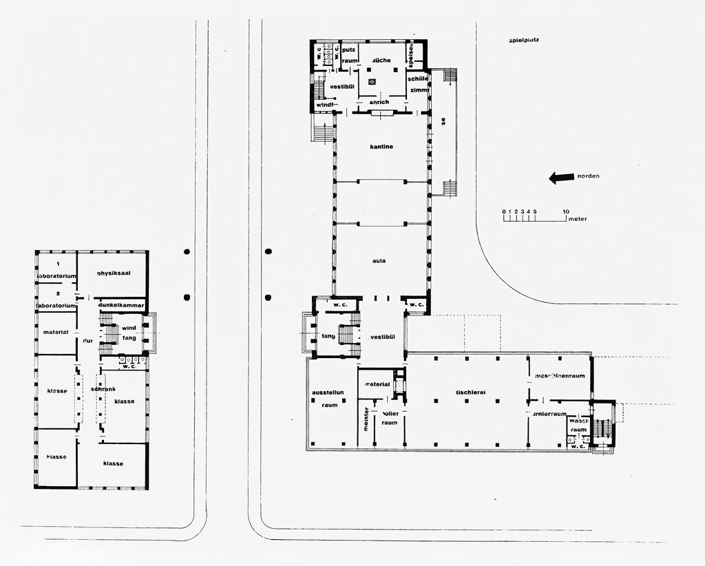 from the harvard art museums collections bauhaus building dessau 1925 1926 ground floor plan. Black Bedroom Furniture Sets. Home Design Ideas