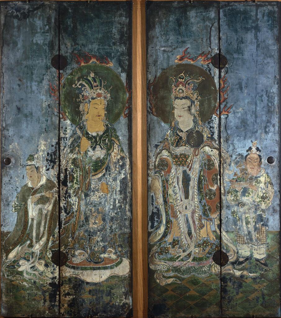 Brahmâ (Bonten) Deva Of The Sky With Attendant, One Of A Pair Of Shrine Doors Depicting Brahmâ And Indra (Taishakuten), Two Of The Twelve Deva Kings (Jūniten) With Attendants