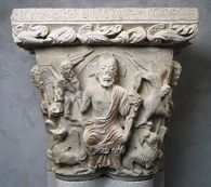 Capital from the Abbey of Santa María de Lebanza; principal face: Christ in Majesty Exhibiting His Wounds; right face: Disciple with Lance and Disciple with Nails; left face: Two Disciples with Double-Armed Cross
