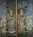 Pair Of Shrine Doors Depicting Brahmâ (Bonten) Deva Of The Sky And Indra (Taishakuten) Deva Of The East, Two Of The Twelve Deva Kings (Jūniten) With Attendants