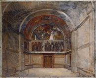 Study for North Wall with Side Walls, Special Collection Hall, Boston Public Library