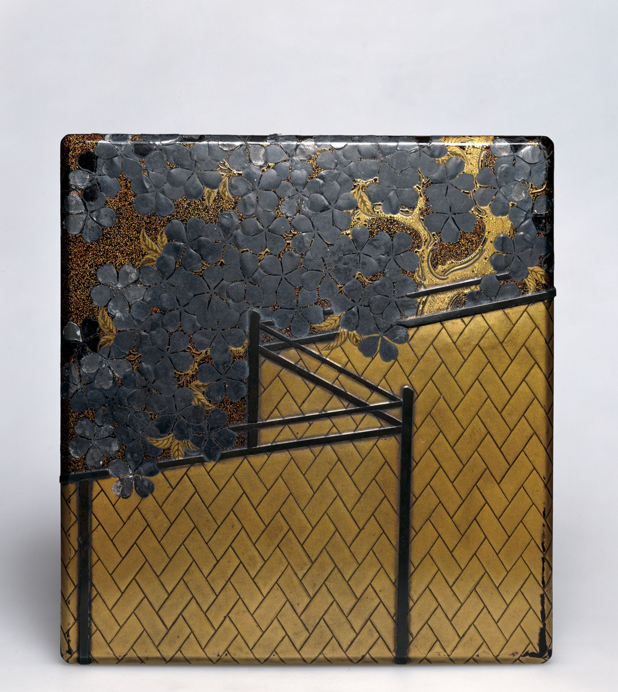 Inkstone Box (Suzuribako) With Cherry Blossom And Fence Design