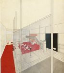 Apartment House Communal Rooms for Werkbund Exhibition, Paris, 1930: Interior perspective, view of bar from pool