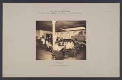 Education, Industrial: United States. New York. New York City. Public Schools, Adaptation to Special Needs: New York City Public Schools. Examples of the Adaptation of Education to Special City Needs: Dressmaking.  Evening. Public School No. 96 Manhattan..   Social Museum Collection