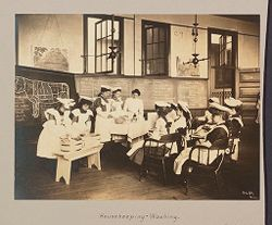 Education, Industrial: United States. New York. New York City. Public Schools, Adaptation to Special Needs: New York City Public Schools. Examples of the Adaptation of Education to Special City Needs: Public School No. 37 Manhattan: Housekeeping - Washing..   Social Museum Collection
