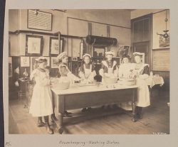 Education, Industrial: United States. New York. New York City. Public Schools, Adaptation to Special Needs: New York City Public Schools. Examples of the Adaptation of Education to Special City Needs: Public School No. 37 Manhattan: Housekeeping - Washing Dishes..   Social Museum Collection