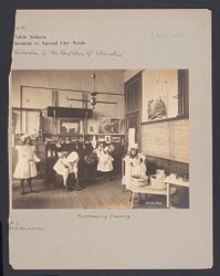 Education, Industrial: United States. New York. New York City. Public Schools, Adaptation to Special City Needs: New York City Public Schools. Examples of the Adaptation of Education to Special City Needs: Public School No. 37 Manhattan: Housekeeping Cleaning..   Social Museum Collection