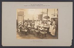 Education, Industrial: United States. New York. New York City. Public Schools, Adaptation to Special City Needs: New York City Public Schools. Examples of the Adaptation of Education to Special City Needs: Day School - Cooking. Public School No. 119 Manhattan..   Social Museum Collection
